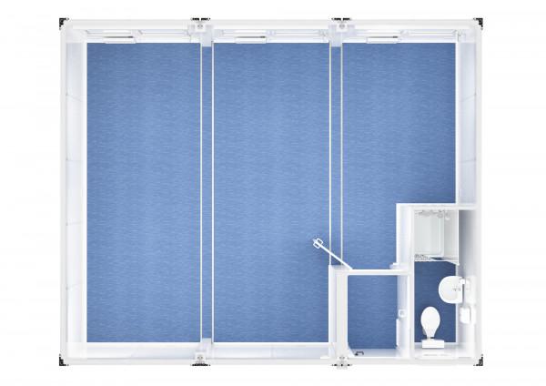 Trioanlage mit Windfang, WC und Dusche - 20 ft - 6 x 7,5 m