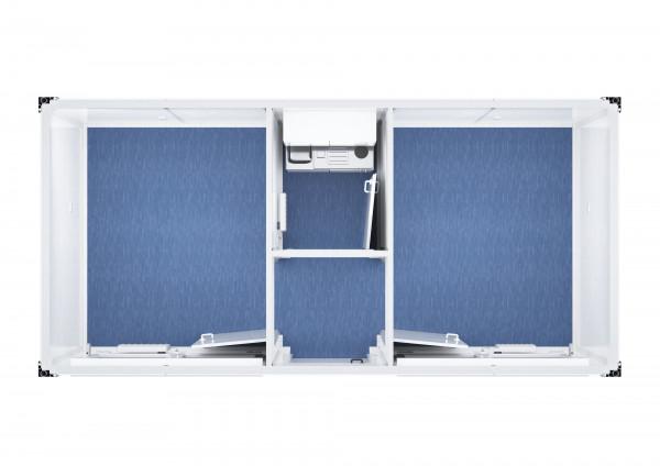 Raumcontainer Standard mit Windfang, raumgeteilt - 20 ft (6 x 3 m)
