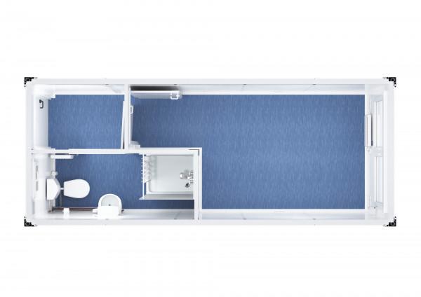 Raumcontainer Standard mit WC und Dusche - 20 ft