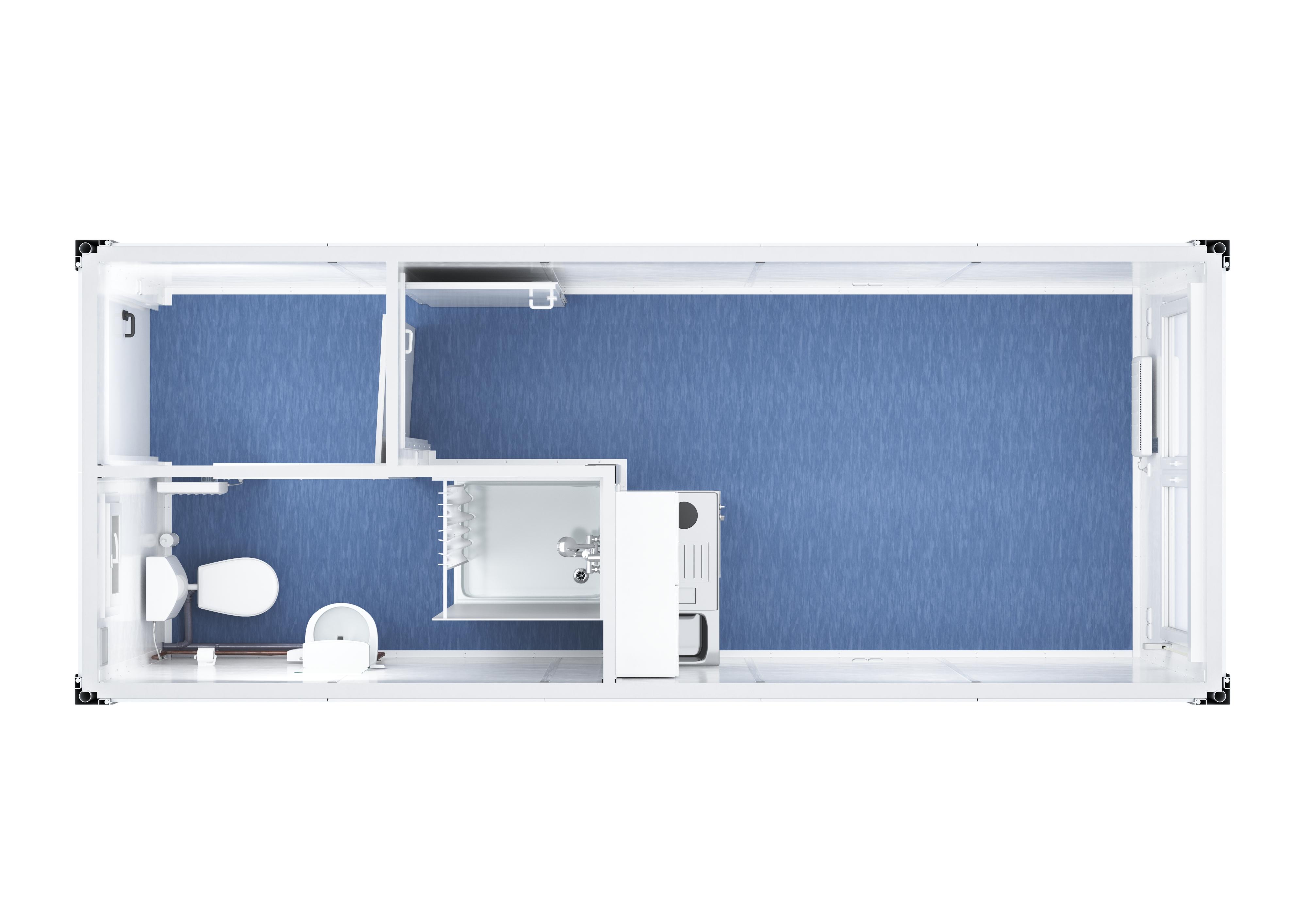 Raumcontainer mit WC, Dusche und Küche – Alles drin  TOI TOI & DIXI