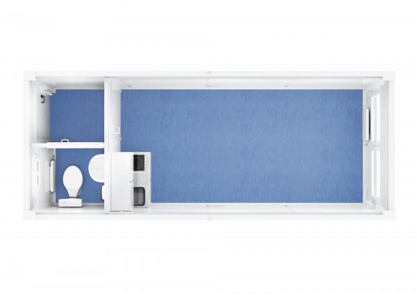 Raumcontainer Standard mit WC und Küche - 20 ft