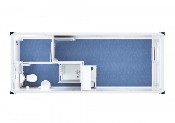 Raumcontainer Standard mit WC, Dusche und Küche - 20 ft