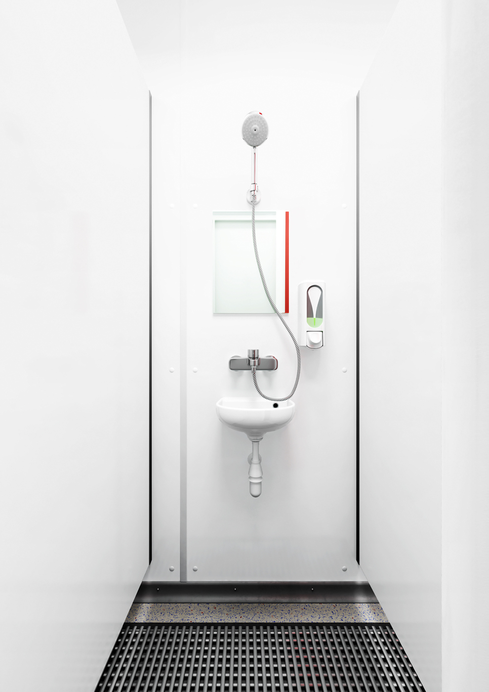 Der basic line dusch container maxi mit 16 duschen toi toi dixi for Dusche wc auf kleinstem raum